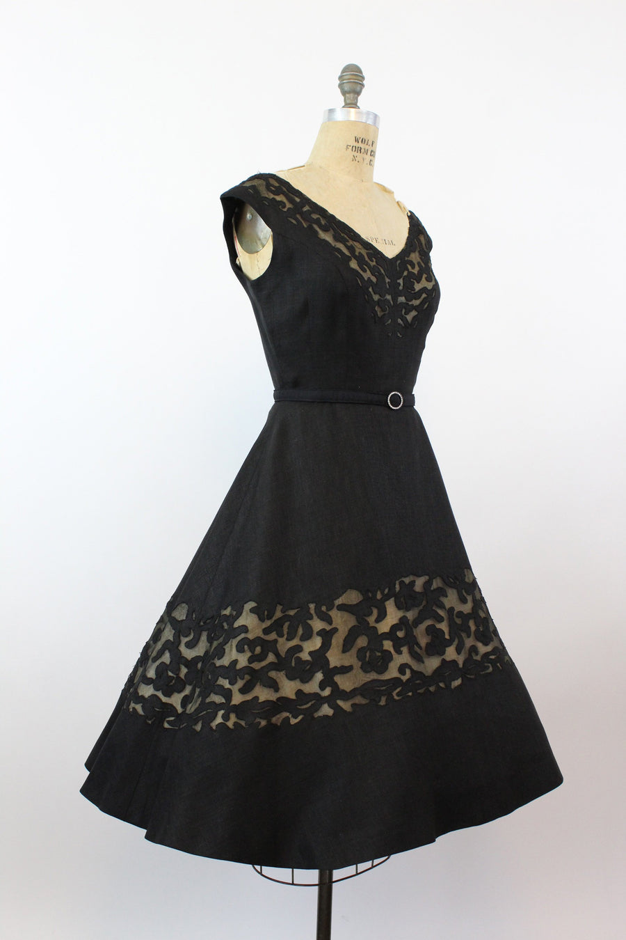 1950s designer black linen dress | vintage cutout couture dress | small medium