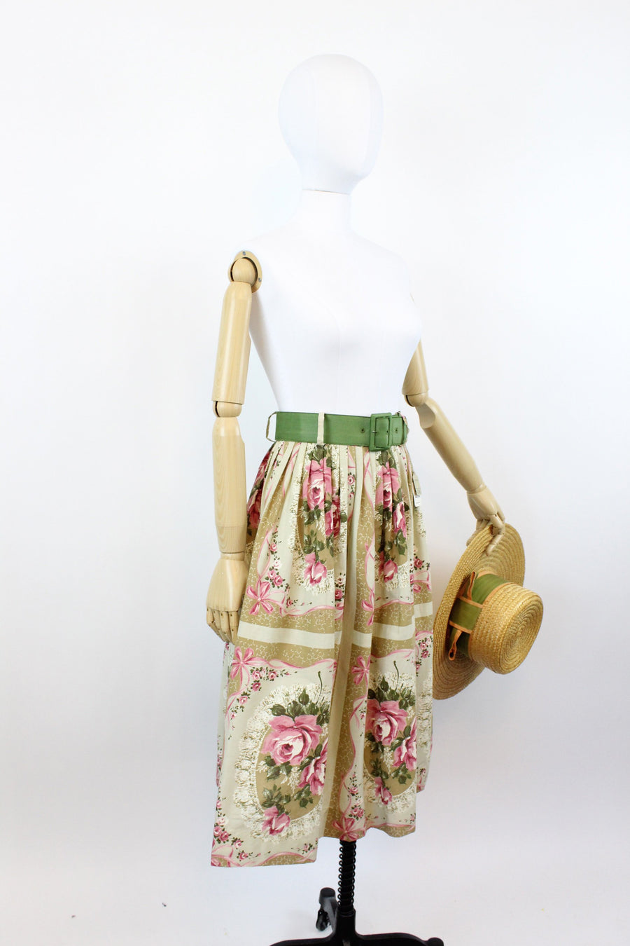 1950s deadstock rose print skirt | vintage novelty ribbon print skirt | xs