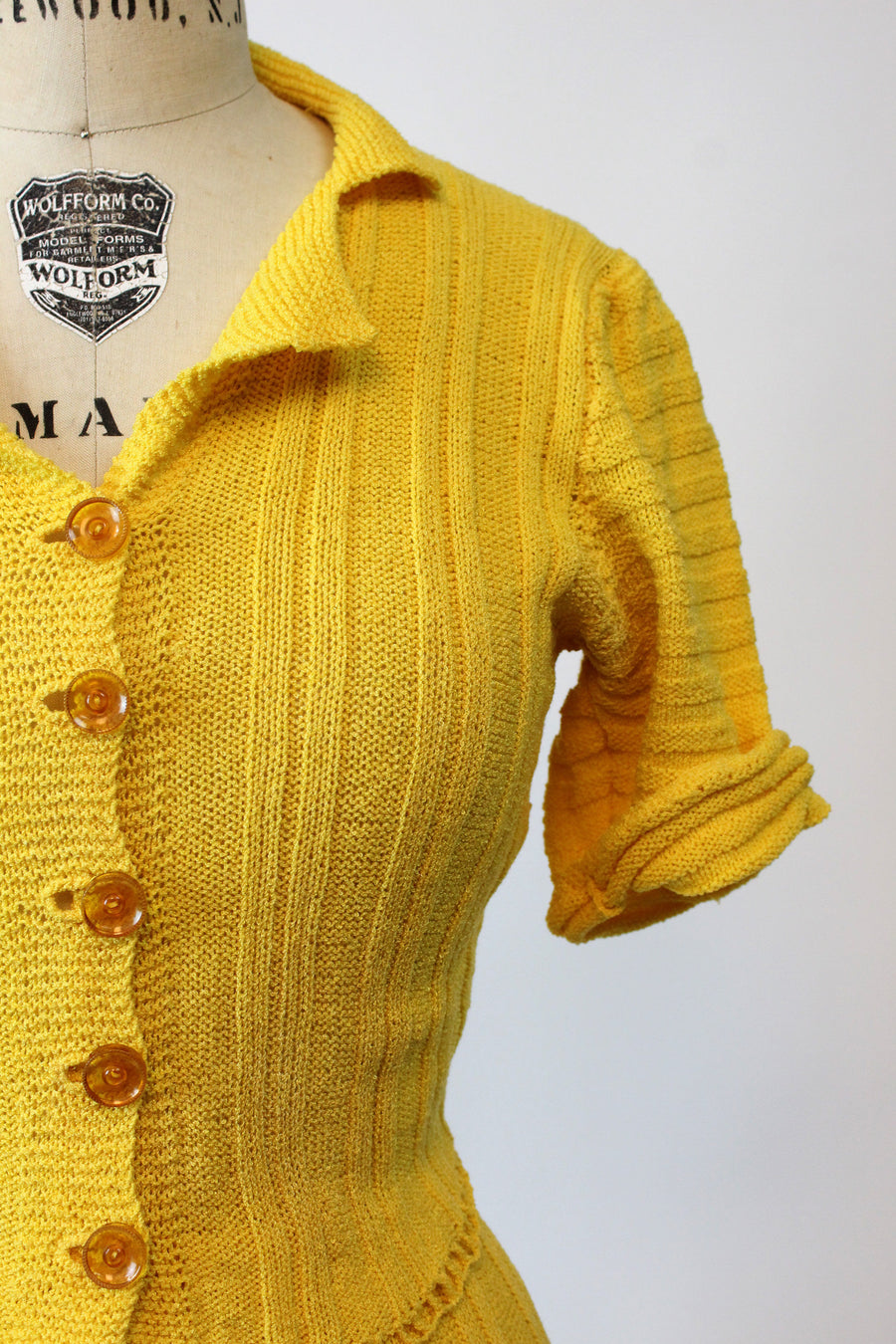 1930s knit set | goldenrod rayon knit puffed sleeve sweater and skirt | xs small