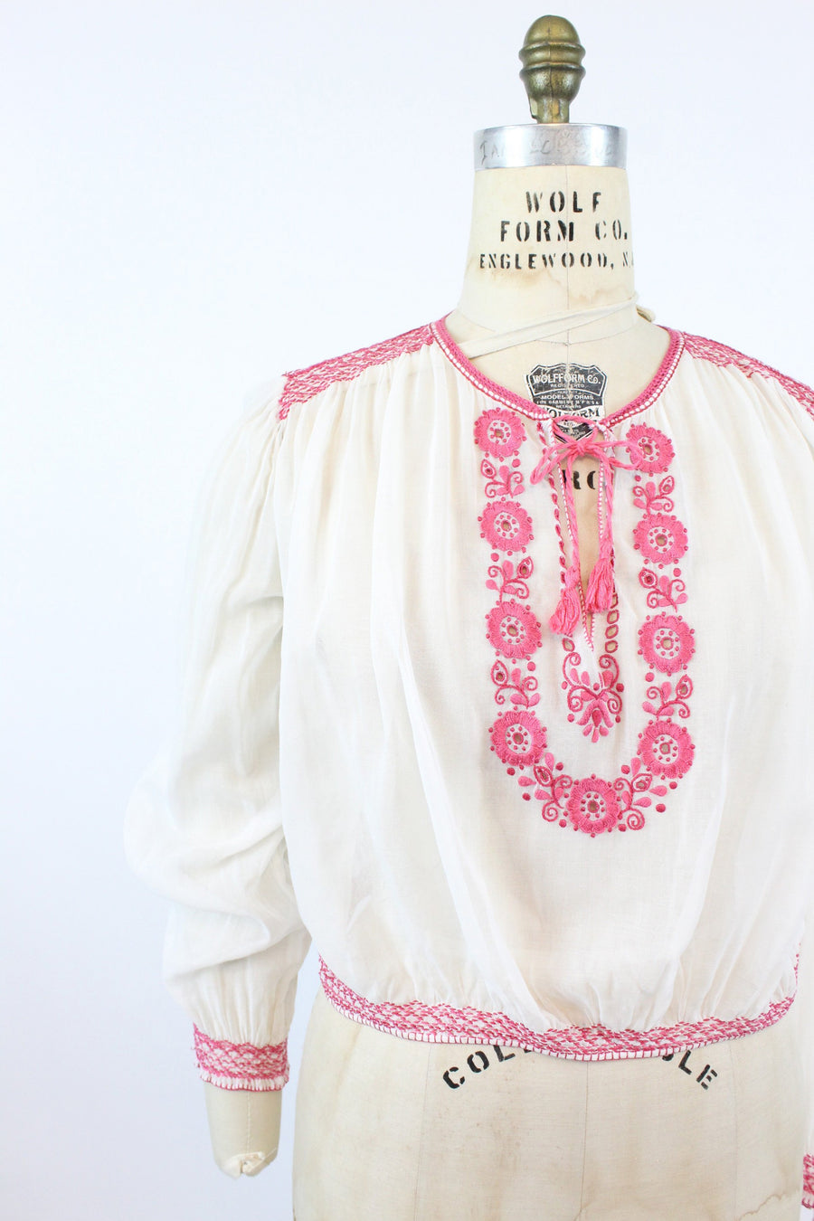 30s hungarian blouse | embroidered peasant blouse JC | medium large JKC