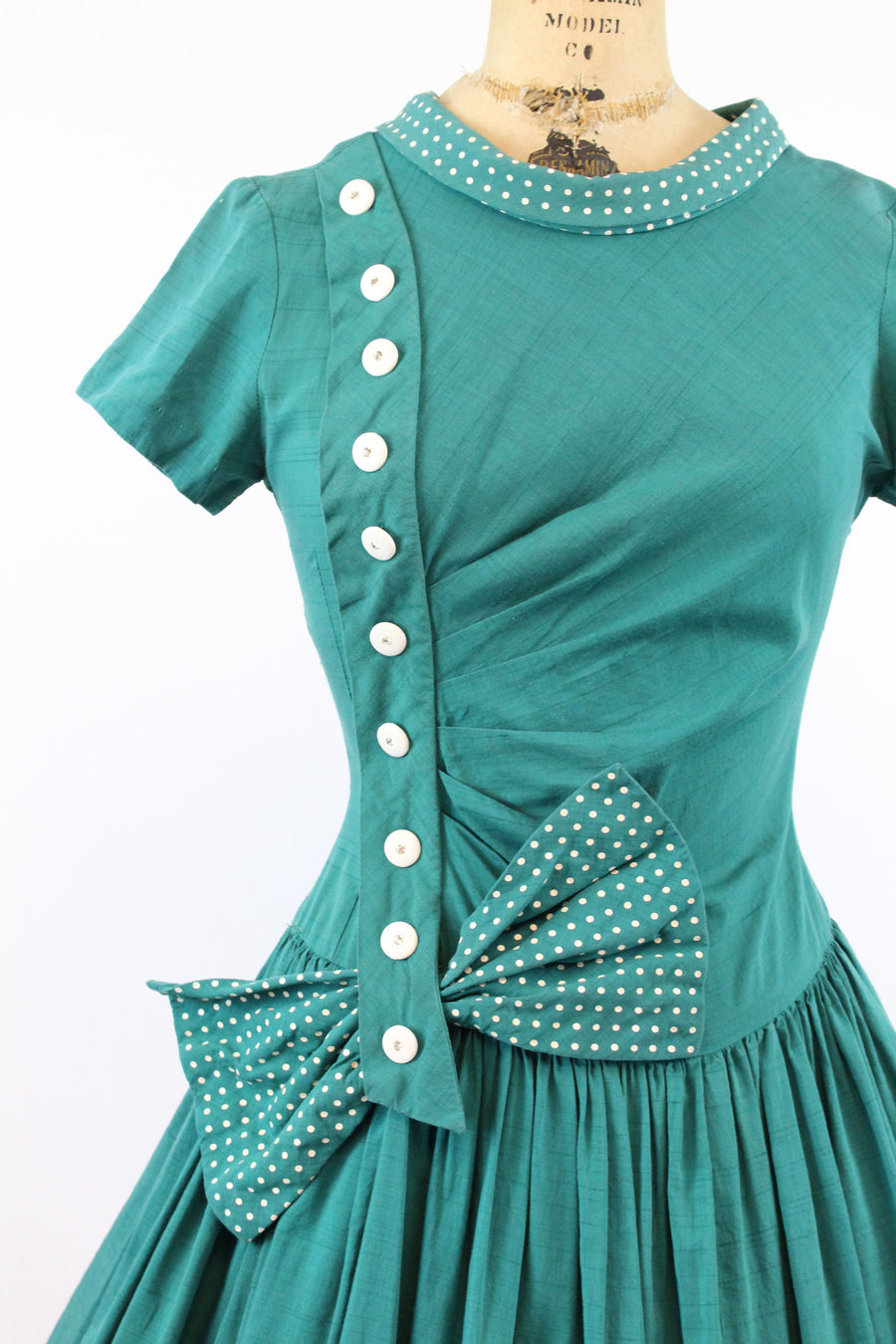 1950s green polka dot bow dress | small
