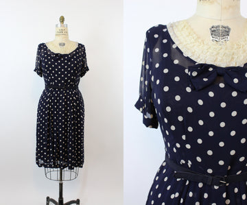 1940s sheer voile dress | polka dot print lace | large volup JAS
