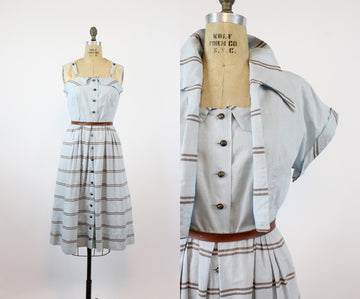 1940s dress with matching bolero | stripped print cotton linen | medium JKC