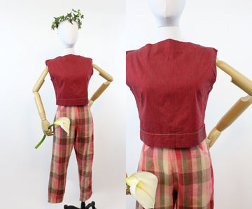 1950s play set | vintage sportswear cigarette pant and top | xs - small