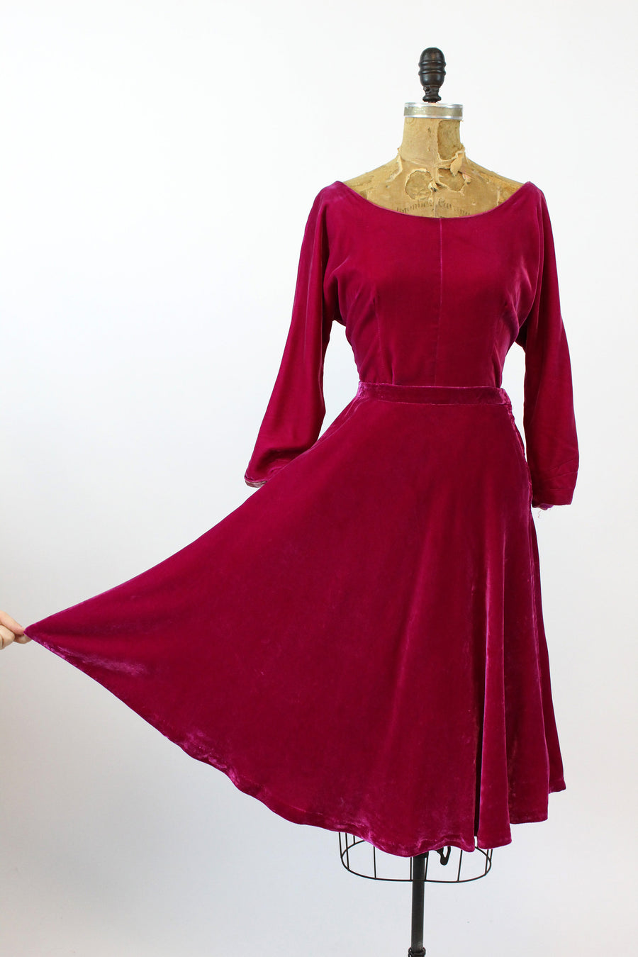 1950s two piece | silk velvet skirt | xs