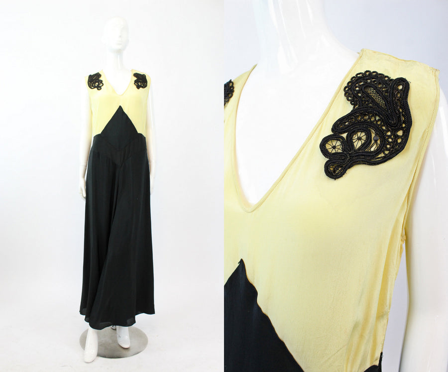 1930s silk beach pajamas | art deco lounge jumpsuit | small medium