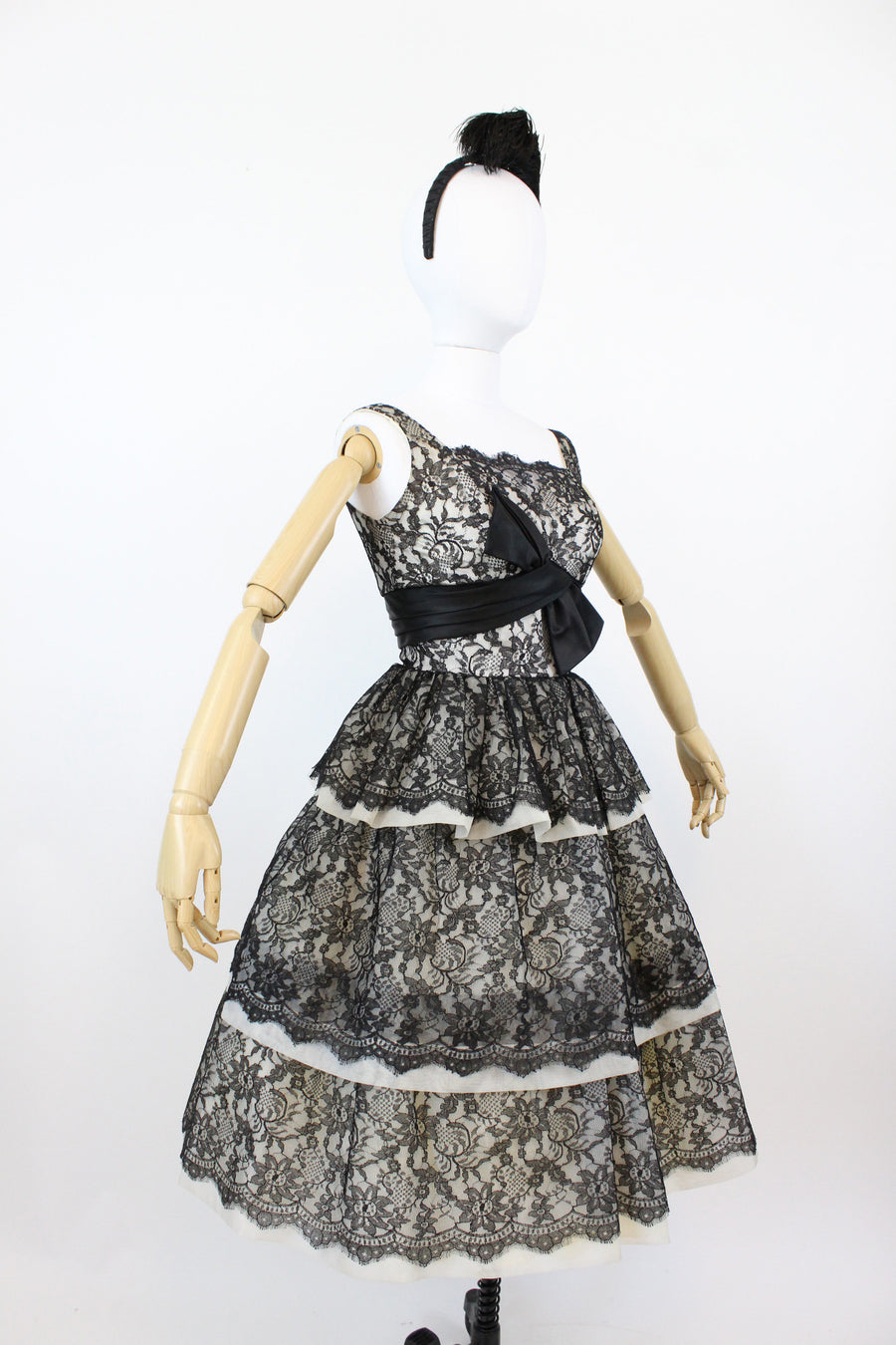 1950s Claudia Young lace and organza dress | vintage tiered cocktail dress | xs