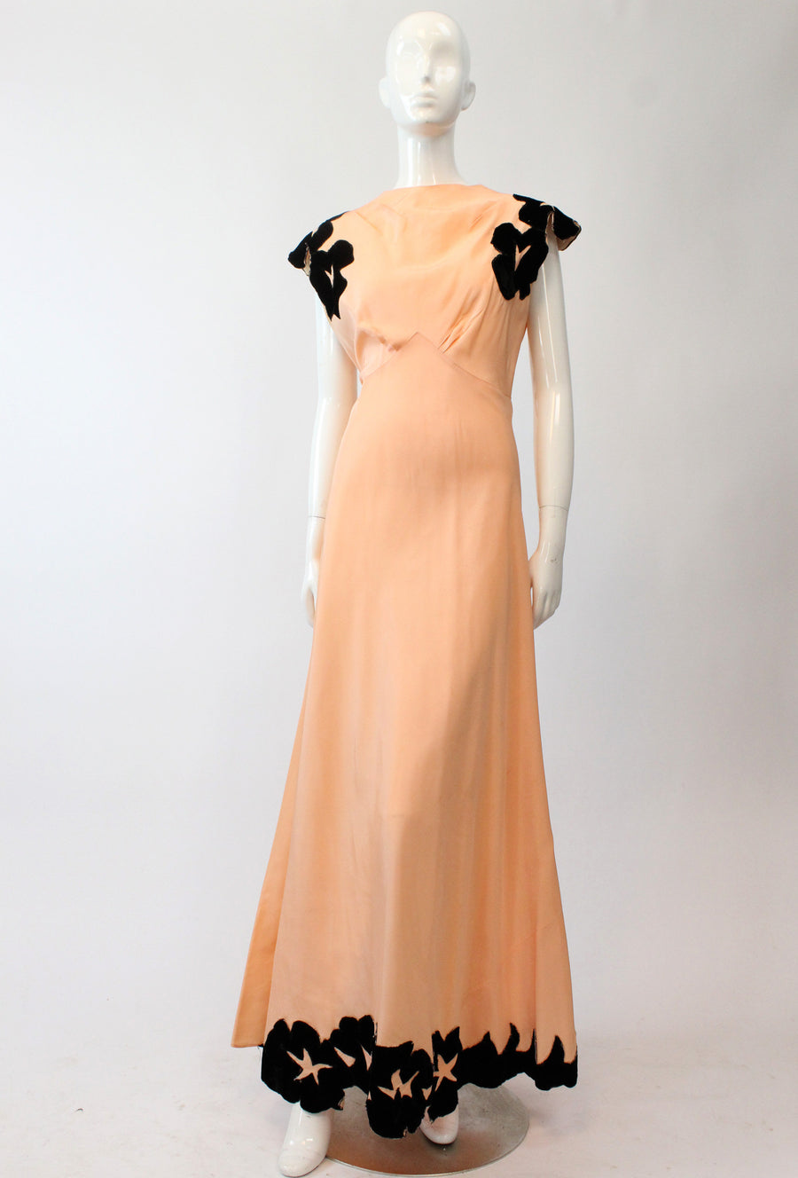 1930s gown | silk velvet applique | small medium