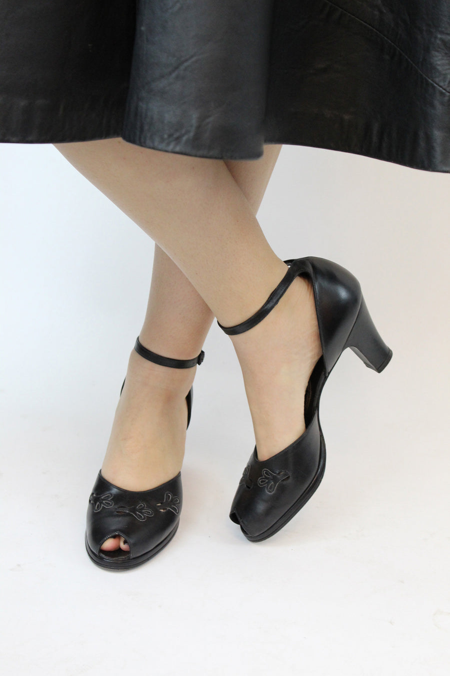 1940s platform ankle strap shoes | vintage cut out peep toes | size 9 us