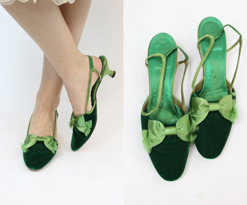 1960s velvet kitten heels | satin slip on loafer | size 7