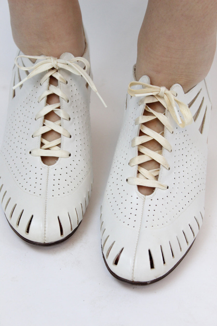 RESERVED FOR MARIE 1930s Heeled Oxfords | Cutout Lace Up Shoes | Size 8.5