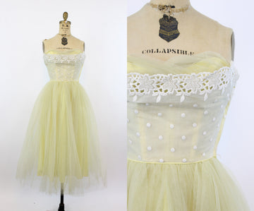 50s strapless tulle dress | vintage cupcake dress | xxs