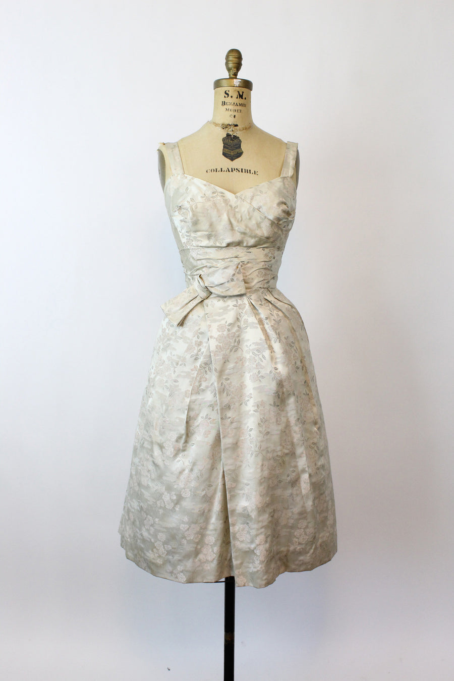 1950s blush brocade dress | vintage tulip skirt bow dress | xxs