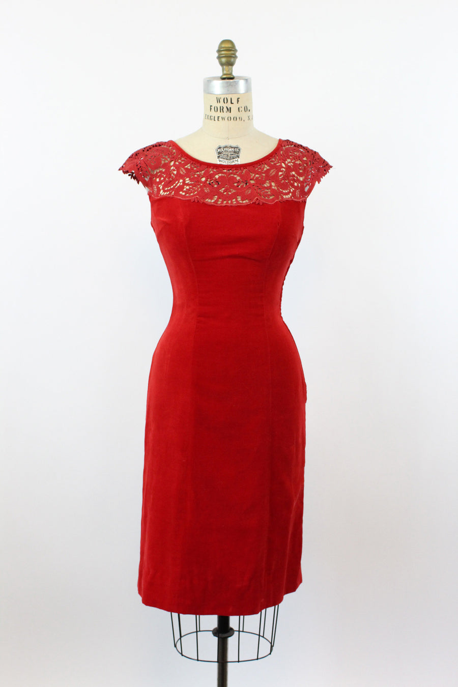 1950s red velvet dress | lace shoulders back bustle | xs
