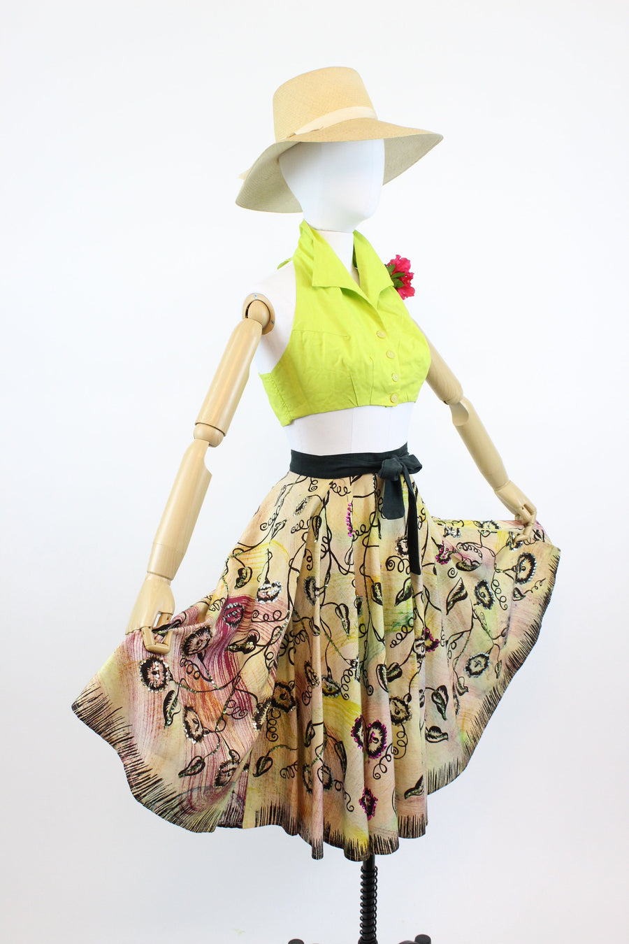 1950s mexican painted skirt | wrap style circle skirt | large - volup