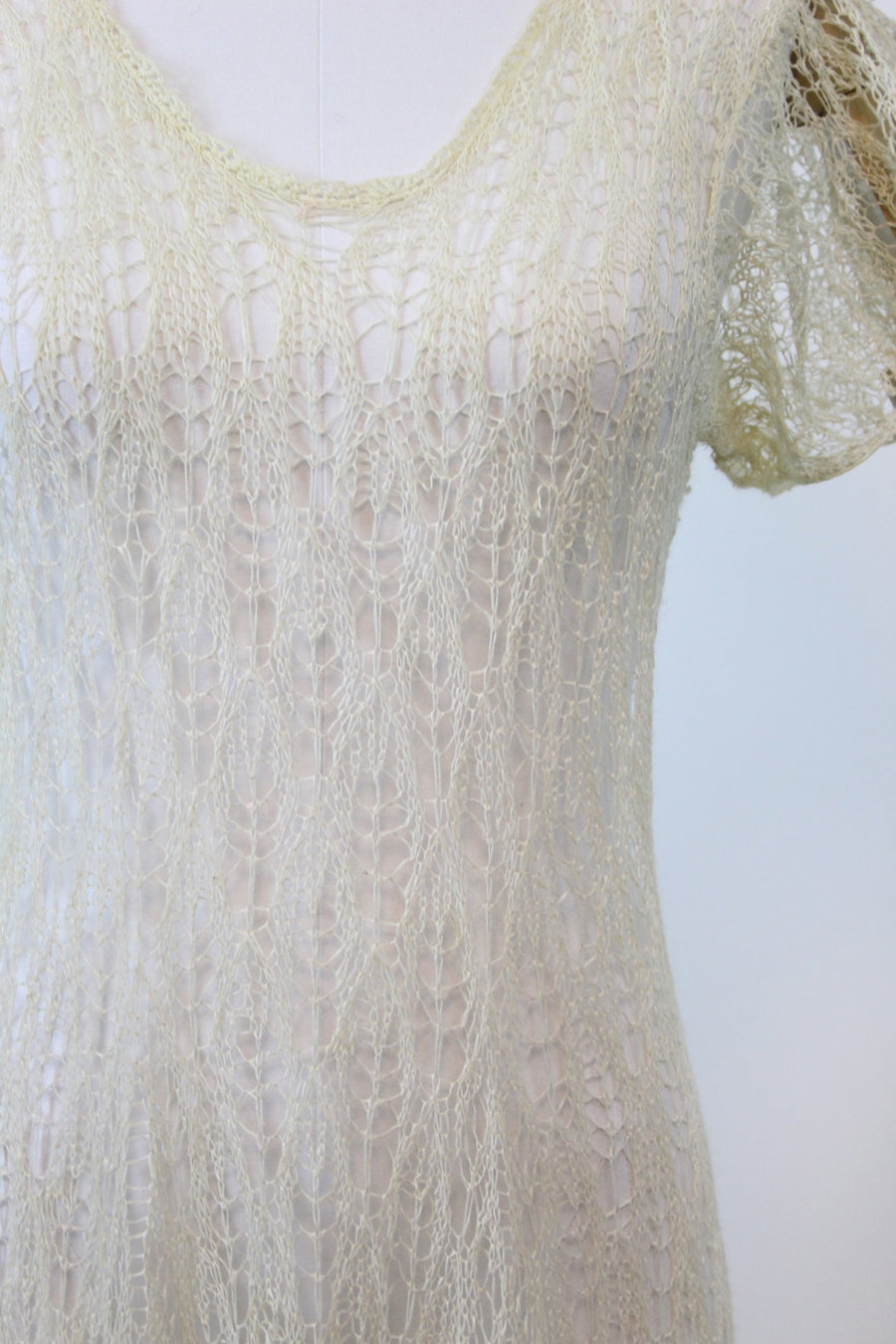 1930s spiderweb lace knit dress | vintage wedding dress | small medium