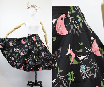 1950s novelty print skirt | atomic full circle | xs - small