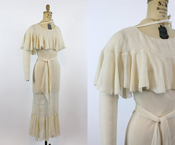 1930s CAPE bias dress and sash WEDDING xs | new spring