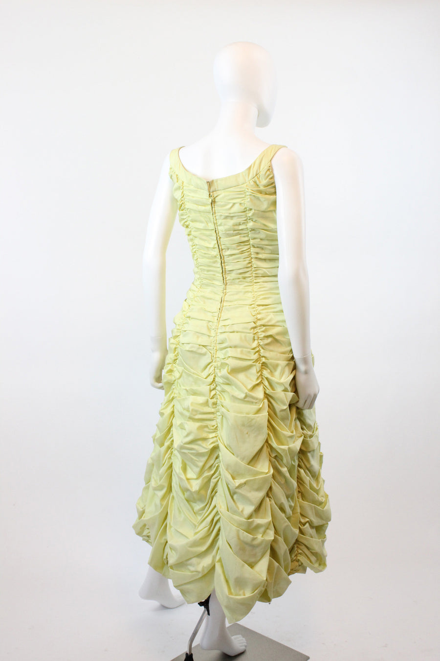 1950s Suzy Perette ruched dress small | vintage gathered curtain cotton dress