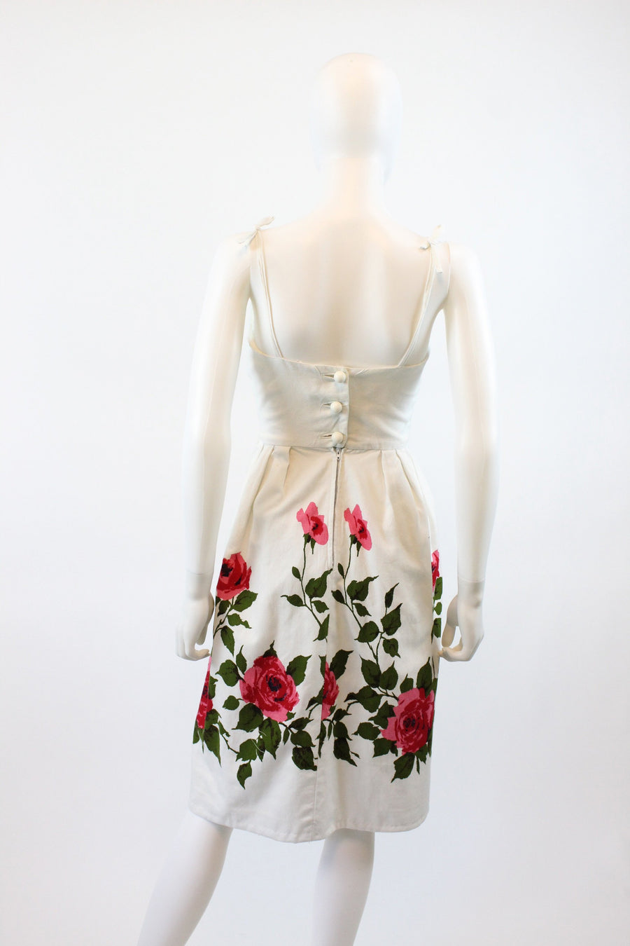 1950s rose print cotton pique dress xxs | jonny herbert | new