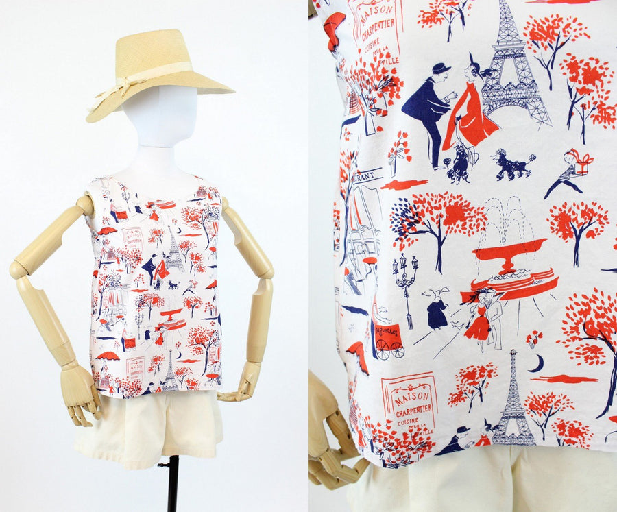 1960s paris print blouse small | vintage cotton novelty print top