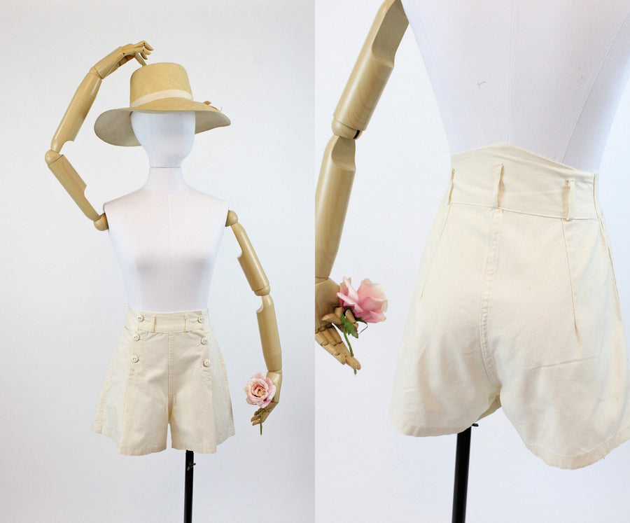 1940s cotton denim shorts xxs | flared cotton sailor shorts