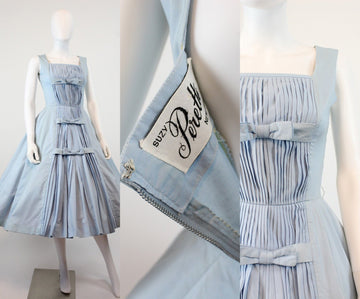 1950s Suzy Perette dress xs | baby blue cotton bow dress