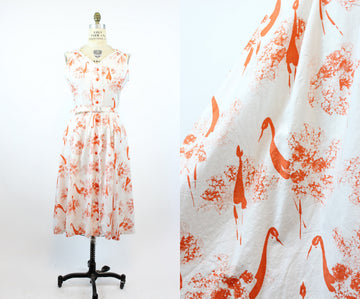 1950s peacock print dress | novelty shirstwaist cotton | XL- VOLUP