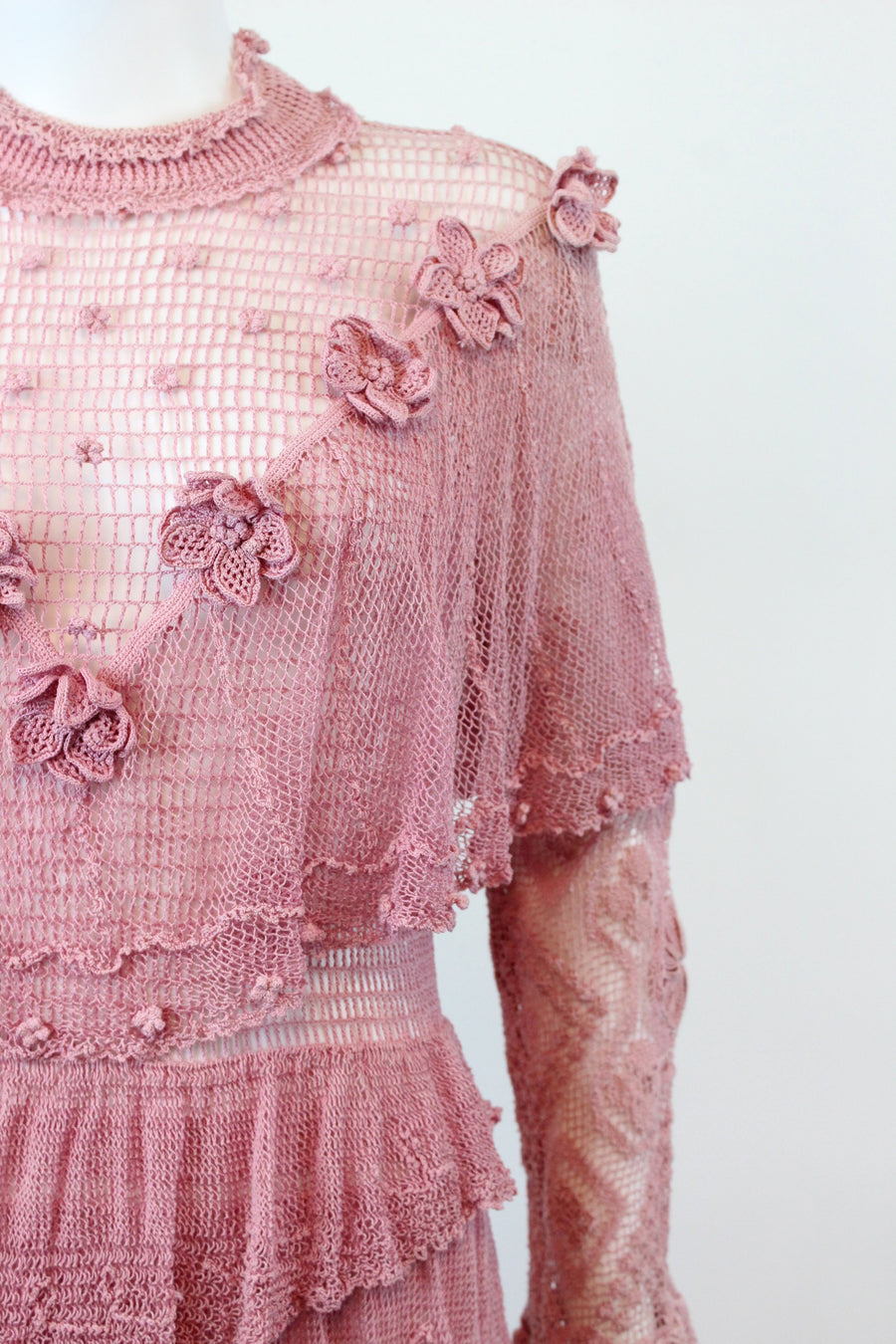 1970s does 1930s rayon crochet maxi dress small medium | rose appliques