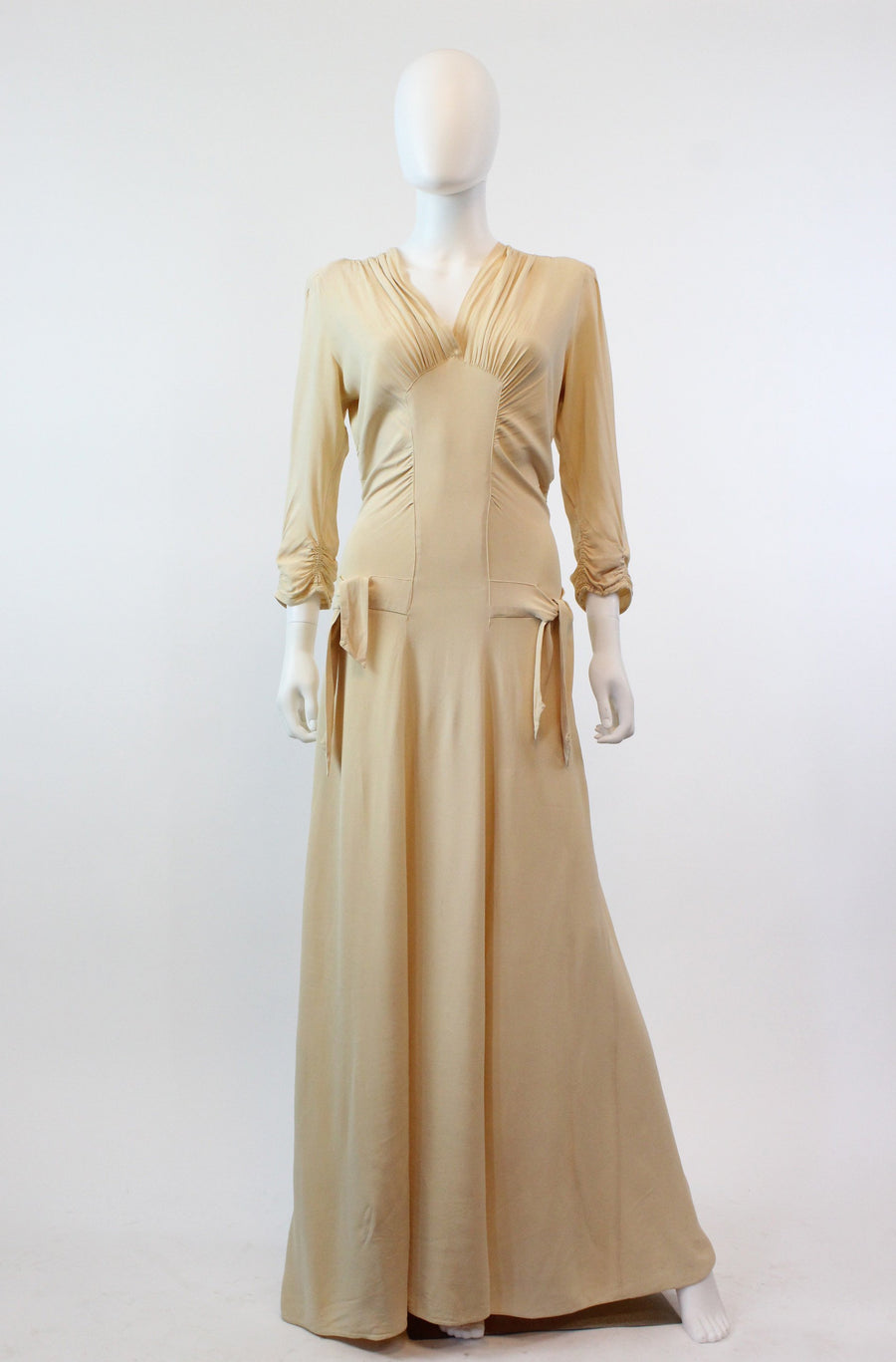 1930s nude rayon dress gown xs small | vintage 30s wedding gown