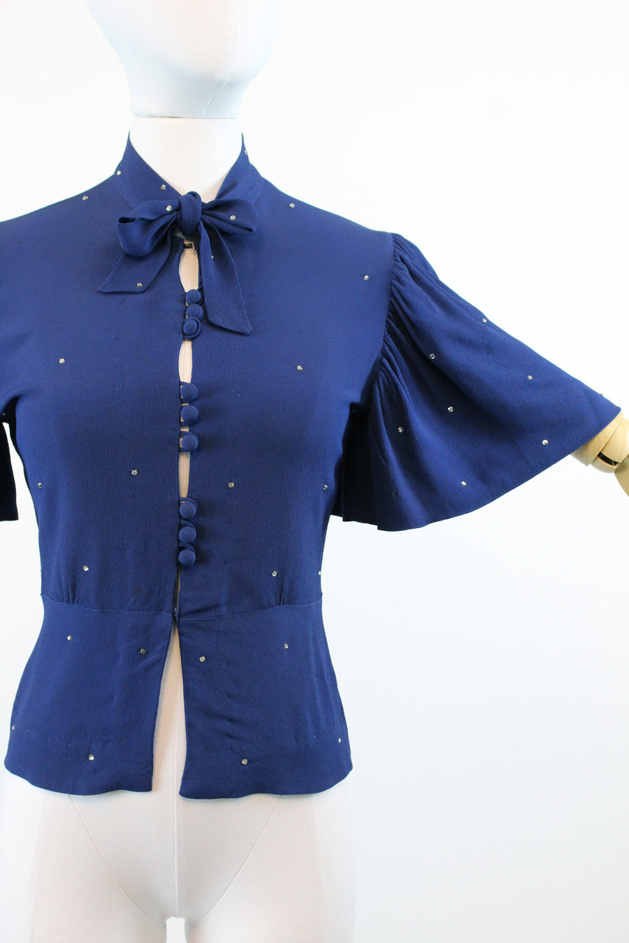 1930s blouse flutter sleeve rhinestones xs | 1940s rayon top