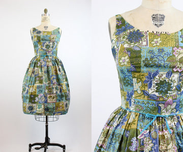 1950s deadstock cotton dress medium | vintage batik print cotton dress new