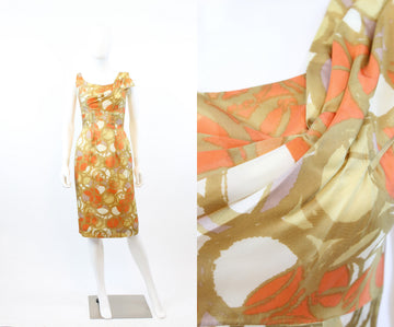 1950s 1960s Lilli Diamond dress | silk wiggle abstract print | xs jmc