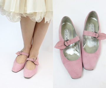 1980s millennial pink mary jane shoes | vintage pink suede flats | size 8 us
