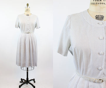 1950s shirtwaist dress | swiss dot Lordleigh wiggle | XL - VOLUP jkc