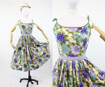 1950s floral dress | cotton rose print tie strap | xs