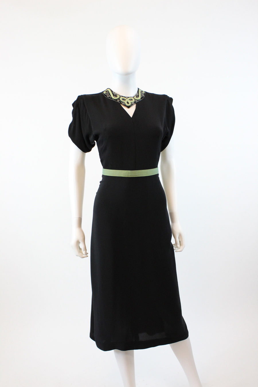 1940s rayon beaded dress xs | vintage peek a boo pistachio dress | new in