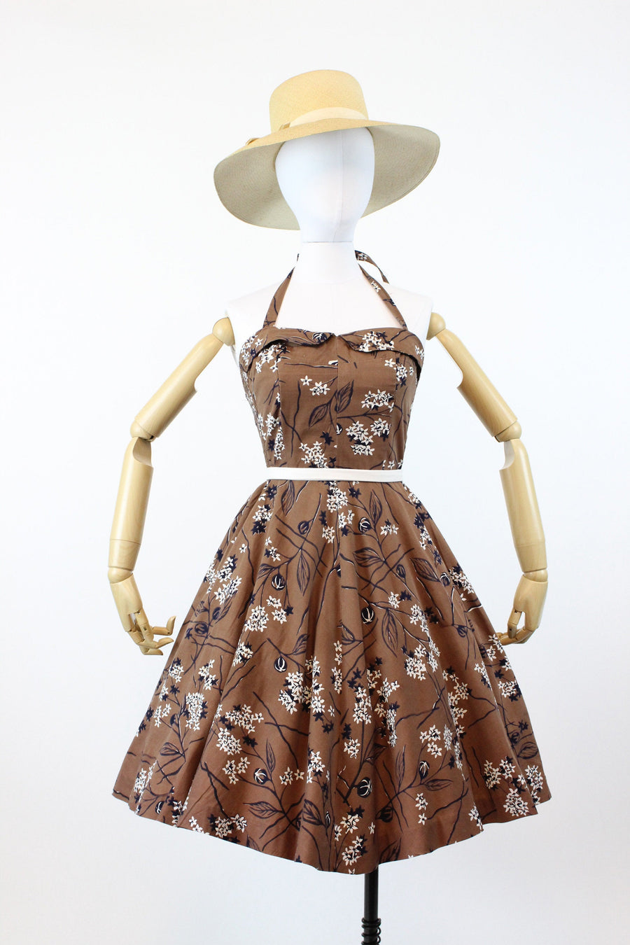 1950s hawaiian halter dress small medium | vintage cotton cherry blossom dress