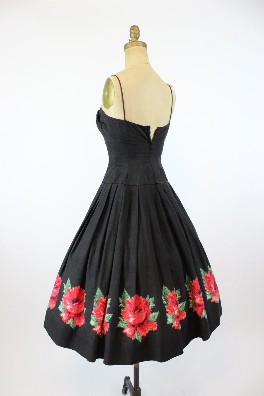 1950s cabbage rose dress xs | vintage petal bustline sun dress | new in