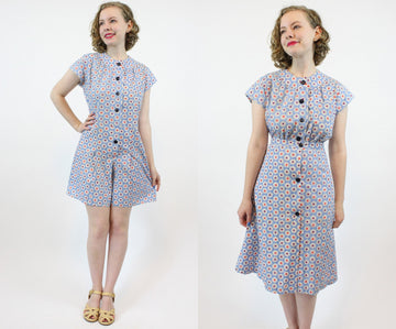 1940s Ritzy Maid play suit | 1930s romper and skirt novelty set | small - medium