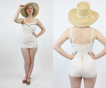 1950s Rose Marie Reid one piece | wave embroidered swimsuit | xs