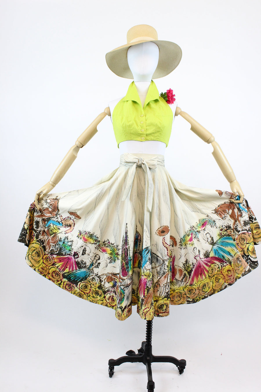 1950s hand painted mexican skirt | sequin wrap skirt | small - medium - large