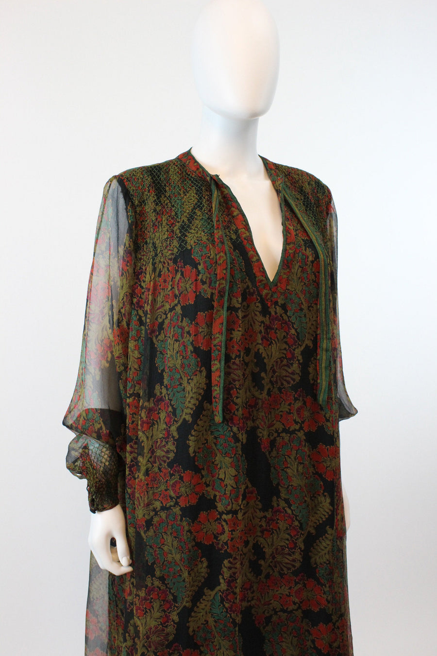 1970s Aananda Indian silk dress caftan |  vintage silk maxi dress | all sizes