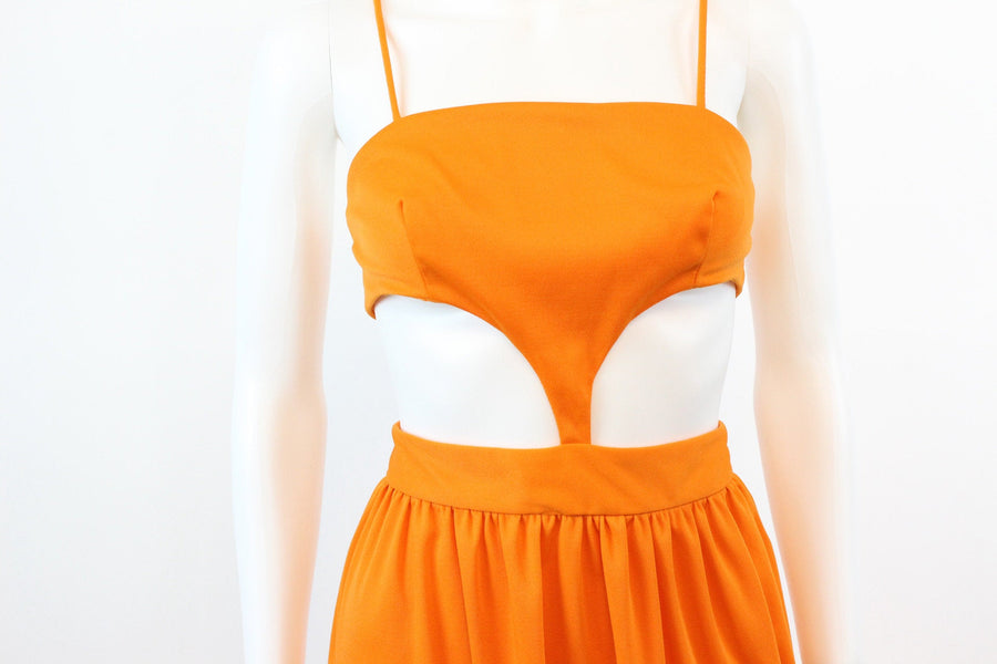 1960s mod cut out orange dress xs | vintage s howard hirsh space age maxi