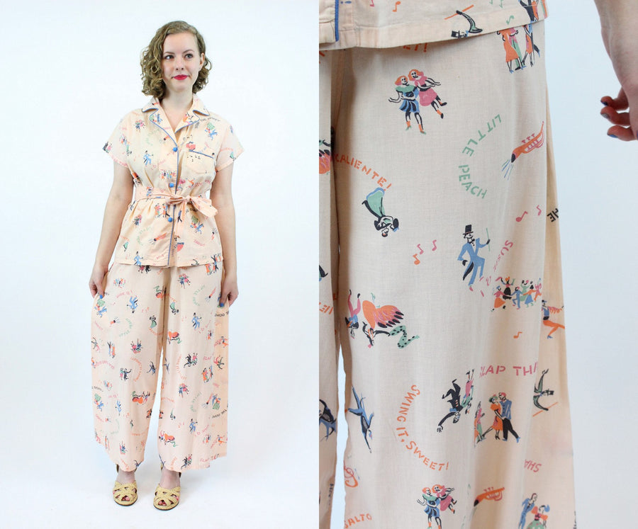 1930s novelty dance print pajamas xs small | vintage wide leg pants and shirt | new in