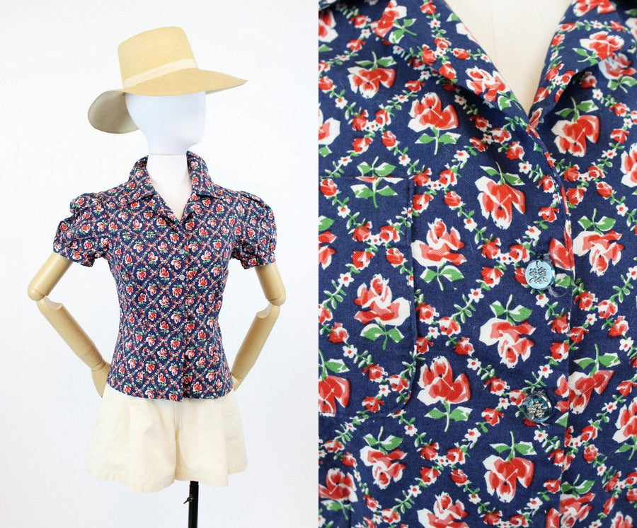 1940s rose blouse | button up floral cotton top | small - xs