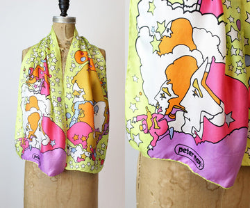 1970s Peter Max silk psychedelic scarf | silk stars wrap