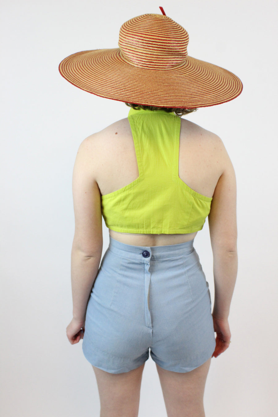 1950s crop halter top | documented button up blouse | small