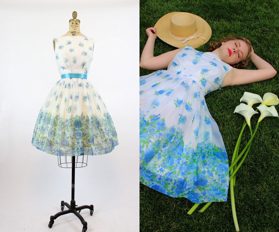 1950s blue rose organza dress xs | new