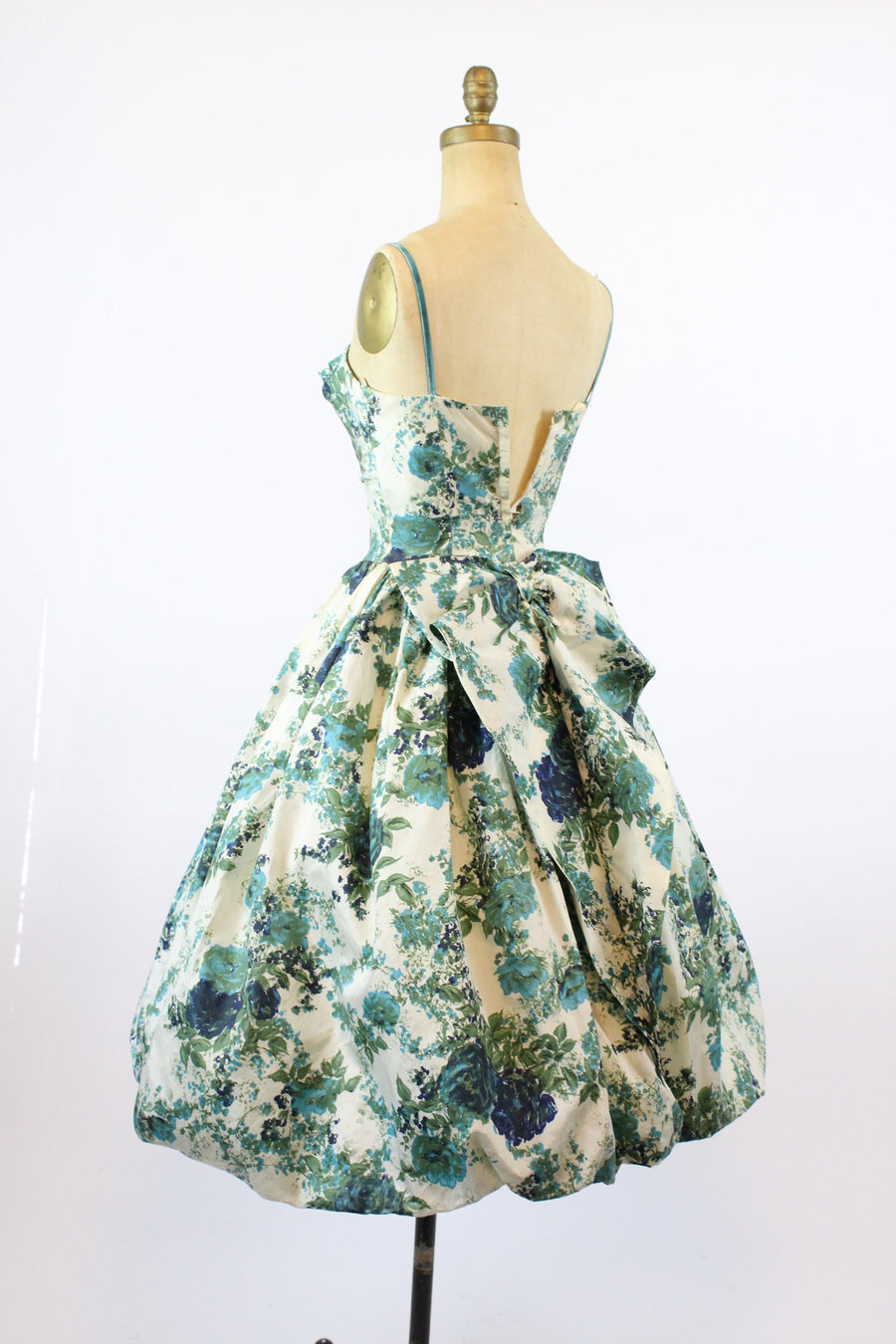 1950s blue rose dress bubble hem | xs | betty draper dress